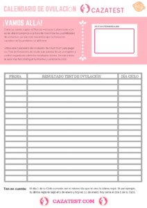 calendario de ovulación para imprimir