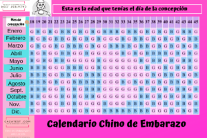 calendario chino de embarazo