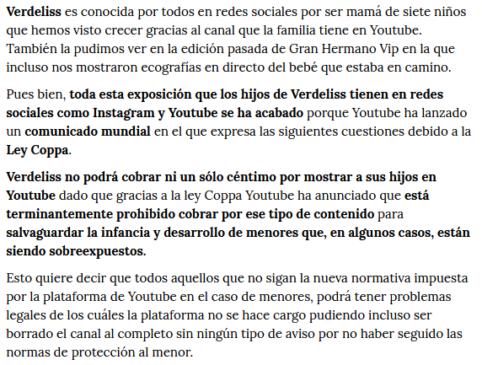 Noticia Verdeliss y Ley Coppa
